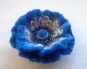 Felt flower brooch, Blue White Felted Flower Brooch, Hair Pins, Unique, Wool Felt Jewelry, handmade, art jewelry