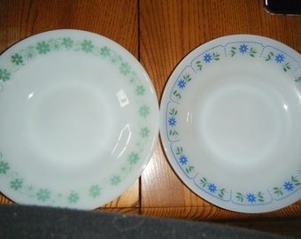 TERMOCRISA SALAD PLATES. Two  Vintage Termocrisa salad plates about eight inches across.  Both are white..one with green ,one with blue trim