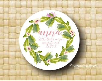 Return Address label/watercolor floral/tropical address label/calligraphy script/wreath/gift tags