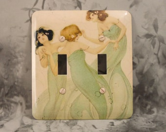 Metal Mermaid Light Switch Cover - Three Whimsical Mermaids - 2T Double Toggle Switch Plate