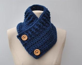 Chunky crocheted cowl in dark petrol blue