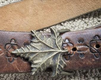 Vintage Solid Brass MAPLE LEAF Belt BUCKLE with Tooled Leather Belt 1970s