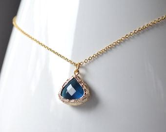 Navy blue pendant necklace gold outline