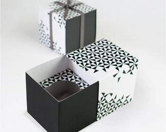 CLEARANCE! - Black Geo + White Cupcake Boxes (Set of 6) - Favor Boxes
