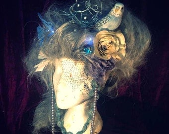 A Midsummers Night's Dream - Silver Forest Spirit Nymph Marie Antoinette Style Wig With LED Butterflies - Custom Made