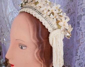 Original Handmade 1950-60's Wedding/Bridal Headband with Delicate Flowers, Rhinestones, Authenic 1920's Tassels