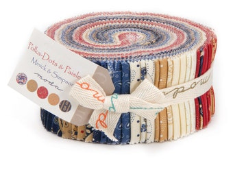 Moda Polka Dot and Paisley Red White Tan Blue American Patriotic Jelly Roll 42 2.5 Inch Strips Fabric