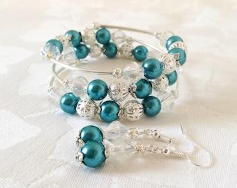 Teal Pearl Bracelet Teal Bracelet Teal Jewelry Wedding Pearl Jewelry Bridesmaid Gift