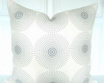 Jonathan Adler Super Nova - Gray and Ivory Pillow Cover - Linen Pillow - Sunburst - Designer Pillow - Grey Linen Pillow - Ivory Pillow