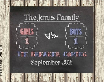 Tie breaker chalkboard sign: We're Expecting Baby Chalkboard Printable Digital File- baby/ pregnancy announcement baby number 3