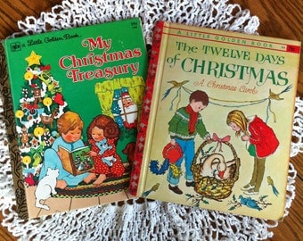 Two Little Golden Books:  The Twelve Days Of Christmas And My Christmas Treasury