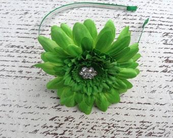 Green flower hard headband