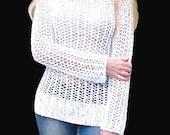 Hand knit sweater.Woman sweater. White sweater. Cotton white sweater. Knitted sweater