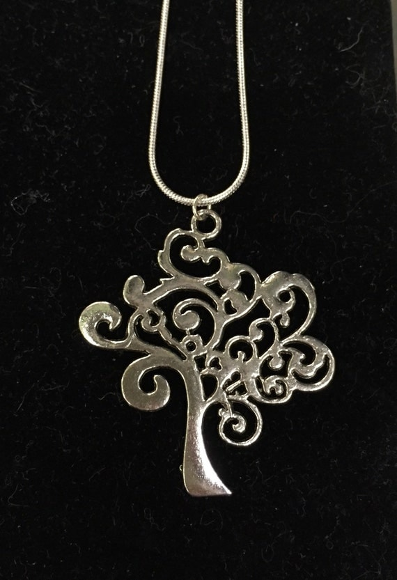 Family Tree love silver charm necklace
