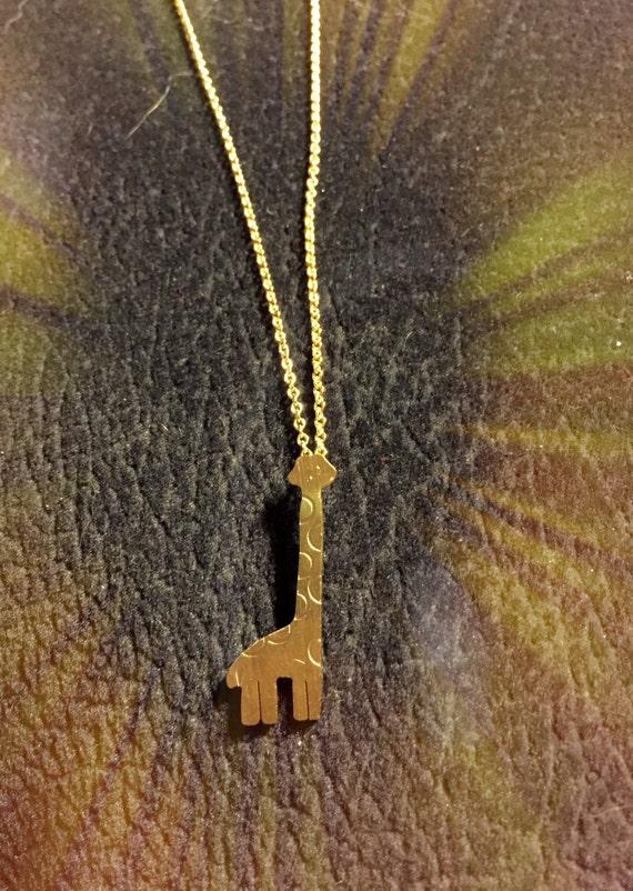 Gild bright shiny cute giraff necklace