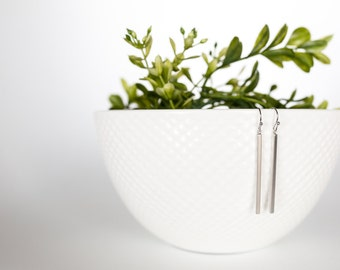 Silver Bar Earrings, Skinny Bar Earrings, Dangle Earrings, Edgy Earrings, Boho Earrings, Classic Earrings, Vertical Bar Earrings, Gift