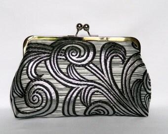 Metallic Silver and Black Clutch Bag, Metallic Silver Clutch, Silver Evening Clutch, Wedding Clutch, Silver and Blue Clutch