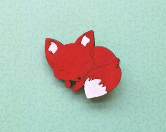 Sleeping red fox with white tail laser cut wooden wood handpainted brooch badge pin Kawaii style