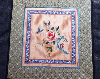 Embroidered Silk Panel Chinese Flower Butterfly 1900s Handmade
