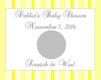 20 Yellow Striped Baby Shower Scratch Off Card