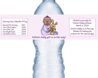 21 Baby Girl Shower Personalized Water Bottle Labels