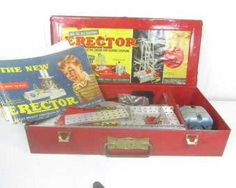 Gilbert Erector Set, Engineer Toy, Vintage Toy, Vintage metal box, Collectible, Industrial Toy, Gilbert Electric Erector set