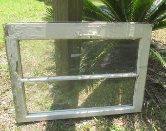 ANTIQUE WINDOW, WOOD Window, Window Pane, Wall Decor, Picture Frame, Glazed Window, Vintage Window, Wall Hanging, White Chippy Paint