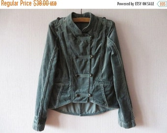 SALE Velvet Marching Band Jacket See Blue Double Breasted Metal Buttons Grey Military Style Jacket MJ Michael Jackson Blazer XS Small Blazer