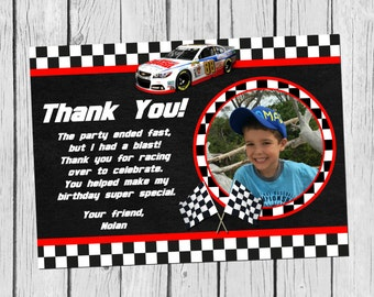 Black and White Checkered Nascar Birthday Thank You Card