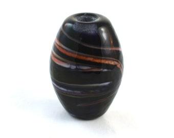 Red Stripes Handmade Glass Lampwork Bead