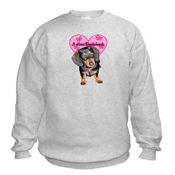 I Love Dachshunds Sweatshirt. Fleecy Lined Ribbed Cuffs and Neck, Choice of Sizes and Colours
