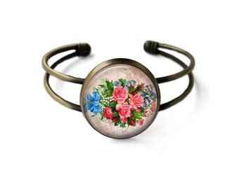 Vintage Floral Bouquet Cuff Bracelet