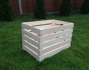 Large Wooden Crate Box Vegetable Plaint Soil Window Sturdy Toy Box Storage Natural Engrave Container
