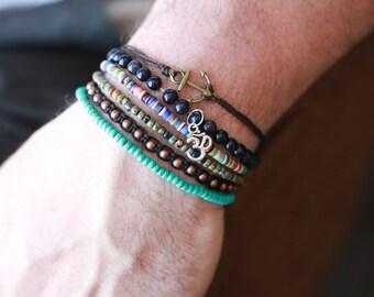 Mens Multi colored  Bead Bracelet - Multi Colour Accent Bracelet