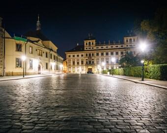 Hradčanské nám at night, in Prague, Czech Republic - Photography Fine Art Print or Wrapped Canvas