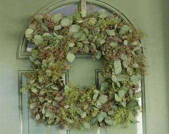 "Seeded Eucalyptus Wreath- 18"" Squared"