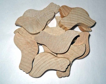 Twelve Wood Doves, 1 3/4 inch Unfinished Wooden Birds