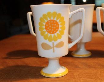 Set of Four (4) Vintage Serenade Flower Pedestal Mugs by JSC