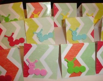 Caterpillar mini cards 12ct 2x2 folded Bug Mini Notes Folded mini notes for sales blank mini cards