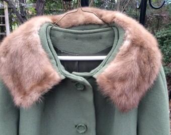 1960s green wool coat with fur collar Crestmoor