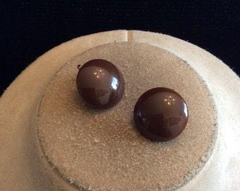 Vintage Brown Plastic Clip On Earrings