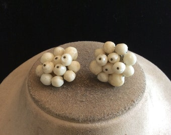 Vintage Chunky Off White Beaded Clip On Earrings