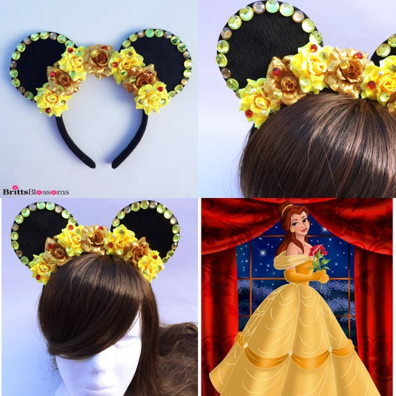 How To Create Belles Hairstyle From Beauty And The Beast : Belle mouse ears beauty and the beast minnie