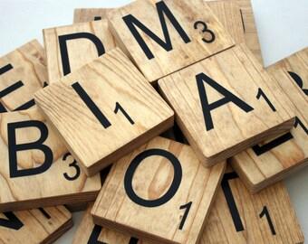 "Stained Large Scrabble Tiles - 3.5"" Large Scrabble Letters  - Scrabble Wall Art - Personalized Wood Scrabble Letters - LST"