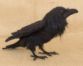 Made to Order Needle Felted Raven: Custom needle felted animal sculpture