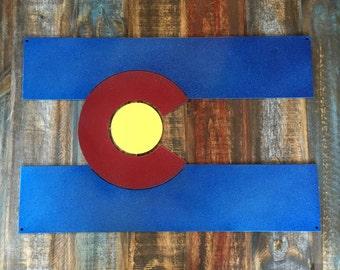 Metal Colorado Flag Sign
