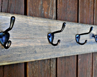 """Wall Coat Rack, Rustic Wood Holder, 5 Thick and Beefy Hooks, from Reclaimed Stair Tread Wood,for Coats, Hats, Towels, and more, 30"""" long"""