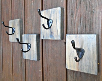Coat Hook Set, Four Matching Hooks,Rustic Single Hooks,Coat Racks,Pallet Wood Coat Hooks,Many Use Hooks,Kitchen, Bathroom, Bedroom,Guestroom