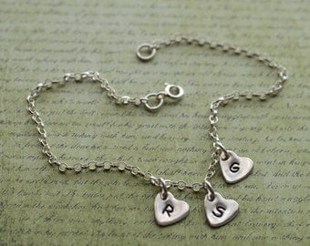 Ankle bracelet sterling silver 925 three heart charm chain ankle bracelet anklet personalised personalized