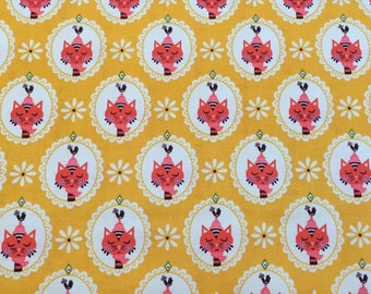 Vintage Kitchen by Andrea Muller for Riley Blake pink cats print on a yellow background by the yard 100% cotton